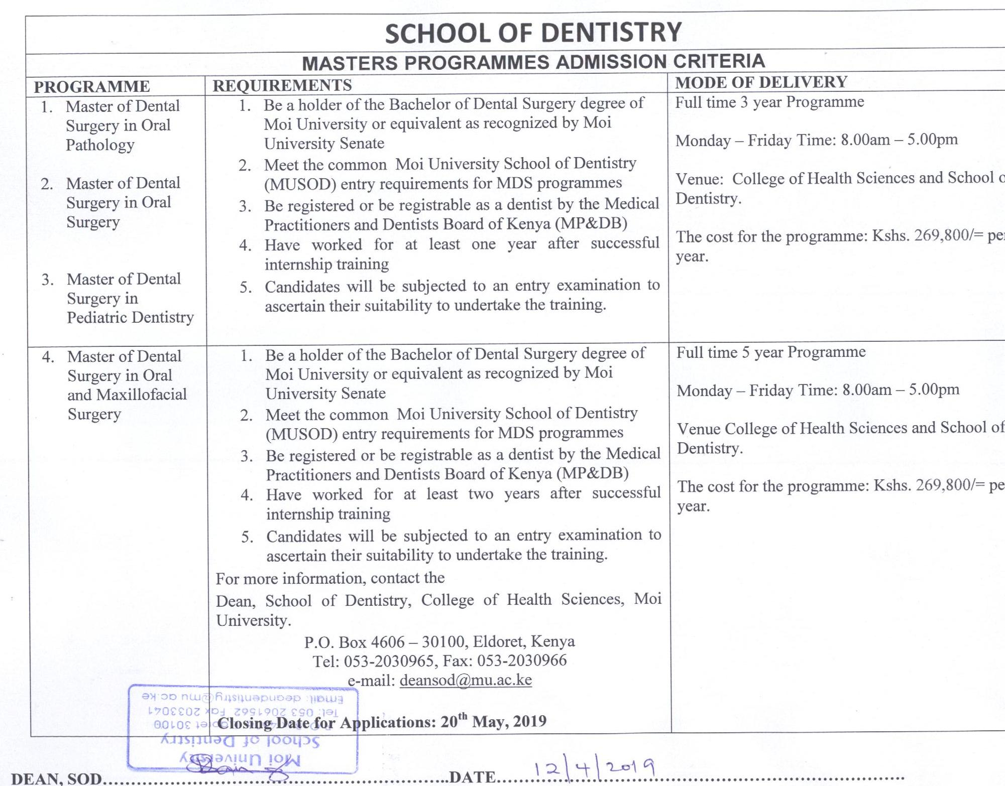 Apply now: Masters Programmes, School of Dentistry